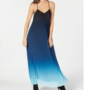 Bar III Ombre Pleated Maxi Dress Blue Flame M New